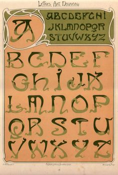 Art Nouveau - hand drawn type, embellished stroke endings, mint green and coral, tendrils, angular crossbars, flat colors, borders 'Lettres et Enseignes Art Nouveau' (1901) by E. Mulier. Source