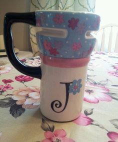 """Thermal Travel commuter coffee Mug cup  Letter """"J"""" blue pink flowers with lid"""