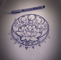 Lunar Phase Lotus - 31 of the Prettiest Mandala Tattoos on Pinterest - Livingly
