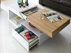 Stolik Epos, funkcjonalny mebel do wnętrza. Green Coffee Tables, Coffe Table, Coffee Table With Storage, Modern Coffee Tables, Folding Furniture, Home Furniture, Furniture Design, Smart Table, Storage Design