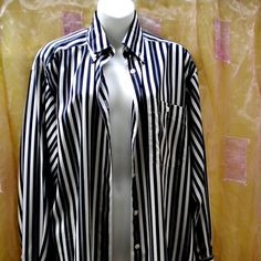 Vintage XL Shirt BLOUSE Silk black white by blingblingfling White Strips aadf0dc20