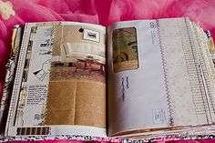Unfilled art journal pages made from old books and magazines, brown paper bags, recycled mail envelopes, maps, and other found paper. Blogged here.