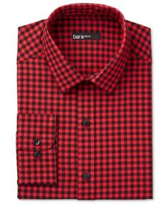 Two shirts in one! The smart, interchangeable collar of this fitted dress shirt from Bar Iii offers you the option to instantly transform and update its classic red gingham appearance. | Cotton/polyes