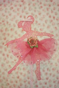 Angelina Ballerina Cake Topper- print outline onto pretty paper and cutout then add tutu