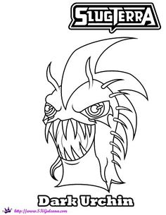 Free Halloween Coloring Page Featuring Dark Urchin From Slugterra