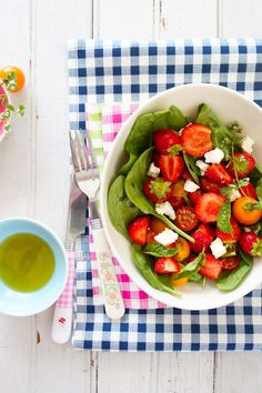 Strawberry and Cherry Tomato Salad with Feta Cheese and Spinach, for Mindful Magazine