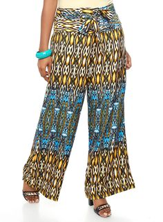 Plus Size Tribal Print Palazzo Pants with Tie Belt - Rainbow - 3850070650107