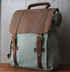 Canvas Backpack Rucksack Schoolbag Leather Backpack door Whatleather, $390.00