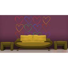 Vinilo decorativo para los amantes de los corazones, este adhesivo decorativo se compone de varios corazones con distintos colores.  http://www.viniloft.es/product.php?id_product=90
