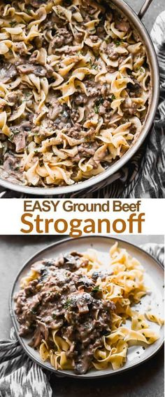 Easy Beef Stroganoff That Can Be Made In Less Than A Delicious, Kid-Friendly Meal That Your Entire Family Will Love Via Betrfromscratch Pasta Dishes, Food Dishes, Main Dishes, Easy Dinner Recipes, Easy Meals, Cheap Meals, Easy Ground Beef Stroganoff, Cooking Recipes, Healthy Recipes