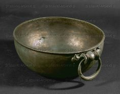 Bowl with anse from Jerusalem. Bronze, Roman-Hellenistic Diameter: 18.9 cm Reuben and Edith Hecht Collection - University, Haifa, Israel