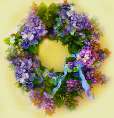 "Hydrangea wreath photo-shopped to be the color I ""really"" wanted but couldn't find in color."