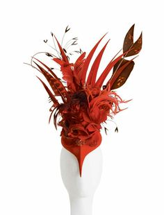 Valentine's Hat from Philip Treacy Valentine Hats, Happy Valentines Day, Feather Headpiece, Headdress, Red Fascinator, Philip Treacy Hats, Cocktail Hat, Love Hat, Red Hats