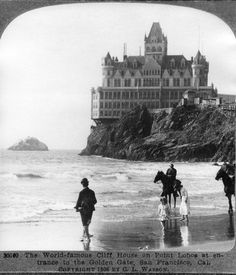 The second iteration of the Cliff House, seen from Ocean Beach in 1906.
