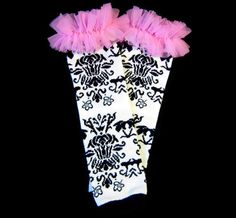 Black and White Damask Legwarmers with Pink Chiffon by whimsytots, $14.50
