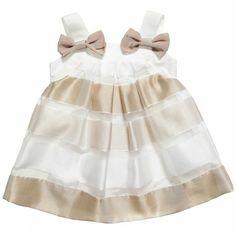 Monnalisa Beige and White Organza Dress at Childrensalon.com