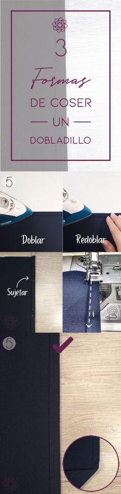Costura fácil 3 formas de coser un dobladillo. Tutorial de costura. Costura fácil paso a paso. Técnicas de costura. Aprender a coser. Costura para principiantes. Design Blog, Singer, Fashion, Vestidos, Beginner Sewing Projects, Learn To Sew, Sewing Tutorials, Sewing Projects, Embroidered Cushions