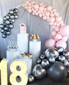 A beautiful birthday cake and dessert display for my Beautiful niece a special thank you to these lovely Ladies Props by… Balloon Garland, Balloon Arch, Balloon Decorations, Birthday Cake Decorating, Birthday Party Decorations, Celebration Balloons, Balloon Arrangements, 18th Birthday Party, Cake Birthday