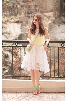 ivory Chicwish skirt - light yellow free people top