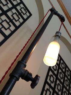 Industrial Floor Lamp - Beer Bottle Lighting - Steampunk Furniture - Pipe…
