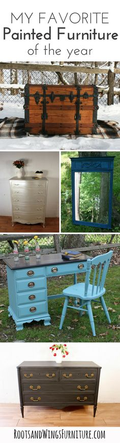 My favorite painted furniture makeovers and tutorials of 2016.  By Jenni of Roots and Wings Furniture.