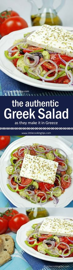 The authentic Horiatiki Greek salad. ****Must use really good feta when making Panos and Mirella's perfect Greek Salad - Brandon