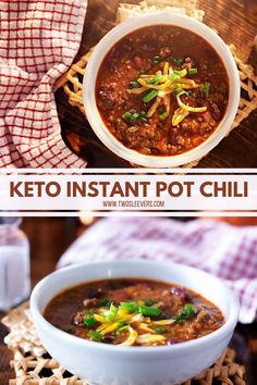 The most authentic and easiest Keto Instant Pot Chili you've ever made. Plus it cooks in minutes in your Instant Pot, yet tastes like it cooked for hours! Instant Pot Chili | Tex-Mex Chili | Texas Chili | Instant Pot Texas Chili | Easy Chili Recipe | Pressue Cooker Chili | Instant Pot Chili Recipe | Two Sleevers #instantpotchili #chilirecipe #instantpotdinner Keto Chili Recipe, Chili Recipes, Pressure Cooker Chili, Texas Chili, Low Carb Crackers, Vegetarian Side Dishes, Great Appetizers, How To Eat Paleo, Tex Mex