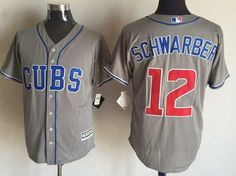 MLB CHICAGO CUBS #12 SCHWARBER GREY Majestic JERSEY