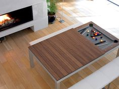 It's the age-old pool table vs. dining room table conundrum: you want a pool table, but there just isn't room for one. Luckily, the chairs and table at the center of your dining room are outdated, and you're in the market for a new set. Pool Table Dining Table, Extendable Dining Table, Dinner Table, Dining Set, Table Chaise, Table Desk, Game Room Furniture, Space Saving Furniture, Billard Convertible
