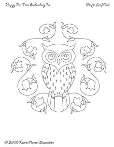 Owls and Wreaths Pattern for Hand Embroidery. $8.00, via Etsy.