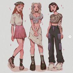 Cute Art Styles, Cartoon Art Styles, Cartoon Girl Drawing, Girl Cartoon, Art Drawings Sketches, Cute Drawings, Character Art, Character Design, Drawing Anime Clothes