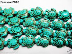Blue Howlite Turquoise Carved Turtle Spacer Beads 14mm x 17mm 16'' Strand