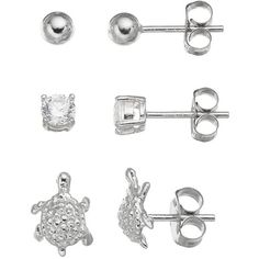 Cubic Zirconia Sterling Silver Turtle & Ball Stud Earring Set (Grey) ($17) ❤ liked on Polyvore