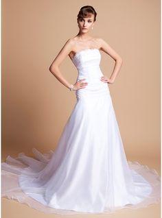A-Line/Princess Strapless Chapel Train Organza Satin Wedding Dress With Ruffle Lace Beading