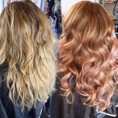 •Transformation • Dusty/Pink-Rose/Gold This was SO fun!! This took two sessions of balayage to create this!! (I will be posting more of this transformation)