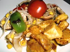 CHICKEN MO SHU with grilled vegetables salad