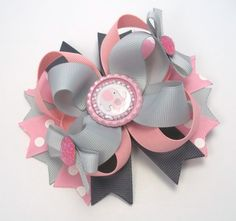Elephant Hair Bow Pink And Grey   Girls by JustinesBoutiqueBows