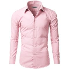 Doublju Mens Long Sleeve Basic Slim Fit Button Down Collared Dress... ($22) ❤ liked on Polyvore featuring men's fashion, men's clothing, men's shirts, men's dress shirts, mens slim fit shirts, mens long sleeve dress shirts, mens dress shirts, mens button down collar dress shirts and mens button down collar shirts