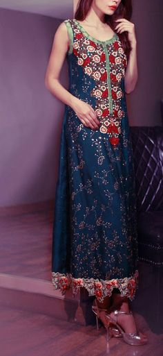 Blue Embroidered Frock Crinkle Chiffon Party Dress - Price $374.99 - Contact 702-751-3523.