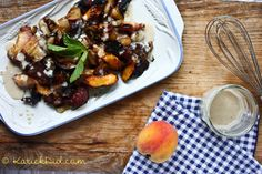 Roasted peach, bacon, and onion salad - instead of cooking the bacon and onion on the stove, put them in the oven with the peaches (less to clean up!) I would also put this over some greens, like arugula or some crispy lettuce.