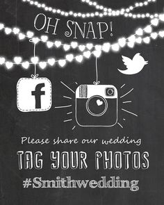 ♥ Give the perfect touch to your wedding with this chalkboard social media sign! A perfect way to ask your guests to share their photos!    You