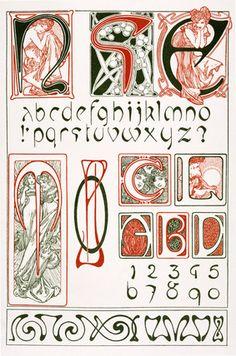 Design for an Art Nouveau Alphabet, by Alphonse Mucha (1860-1939) and published by Librairie Centrale des Beaux Arts. Paris, France, 1902-03.
