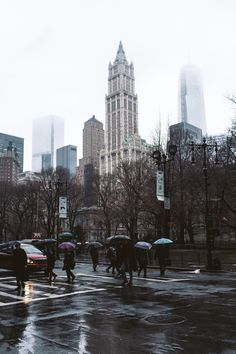 Lower Manhattan and the Woolworth building in the rain.