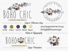 Premade Boho Chic Floral Logo Design Florist Logo Home Design Logo Boutique Logo Photography Logo
