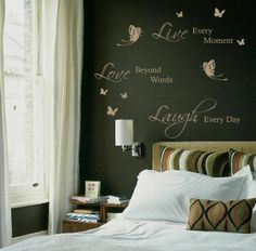 LIVE LAUGH LOVE BUTTERFLY stickers vinyl bedroom Wall Art sticker quote decal