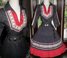 VINTAGE 1950'S 1960'S PATIO DRESS, SOUTHWESTERN, LARGE, METAL ZIPPER, BELT 1960s Fashion, Vintage Fashion, Vintage Style, Pin Up Style, My Style, Fiesta Dress, Western Wedding Dresses, Vintage Dresses, Vintage Clothing
