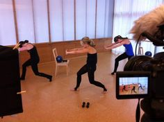 Behind the scenes w/ Sadie Lincoln and Master Trainers Lisa & Candace! Filming for barre3 online workouts.  #barre3