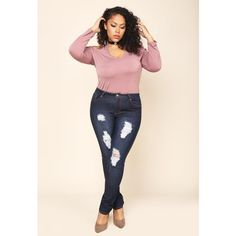 PLUS SIZE DISTRESSED DARK BLUE SKINNY JEANS ❤ liked on Polyvore featuring jeans, ripped jeans, high waisted ripped skinny jeans, high-waisted skinny jeans, plus size high waisted skinny jeans and skinny jeans