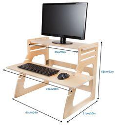 Amazon.com: Регулируемый постоянный стол Мгновенно превращает любой стол в Stand Up Desk - Снимает боли в спине - Сделано в США премиальных березовой фанеры - Высота конвертер / Riser для клавиатуры, монитора, компьютер, ноутбук: Офисные продукты