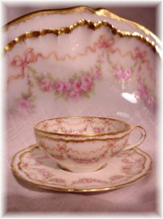 ANTIQUE HAVILAND LIMOGES FRANCE CUP AND SAUCER PINK ROSES BOWS DOUBLE GOLD J
